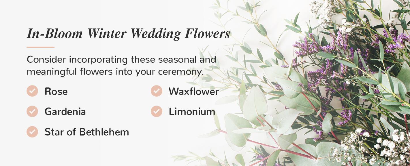 in-bloom winter wedding flowers